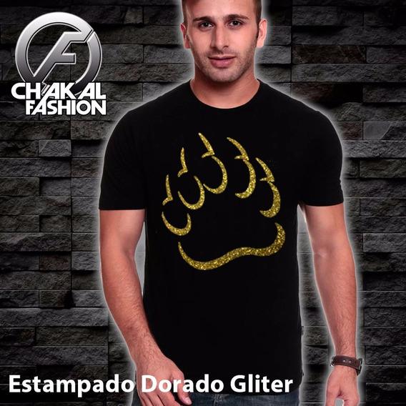 Ck010 Playera Con Estampado De Garras Dorado Oro Gliter Diam
