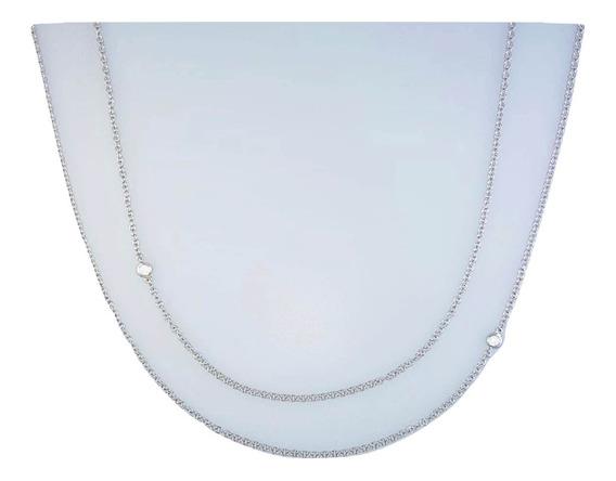 Cadena Collar Doble Oro Blanco 18k Con Diamantes Brillante