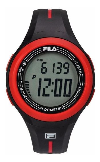 Reloj Digital Fila 38-131-001 Negro/rojo Pedómetro Unisex*