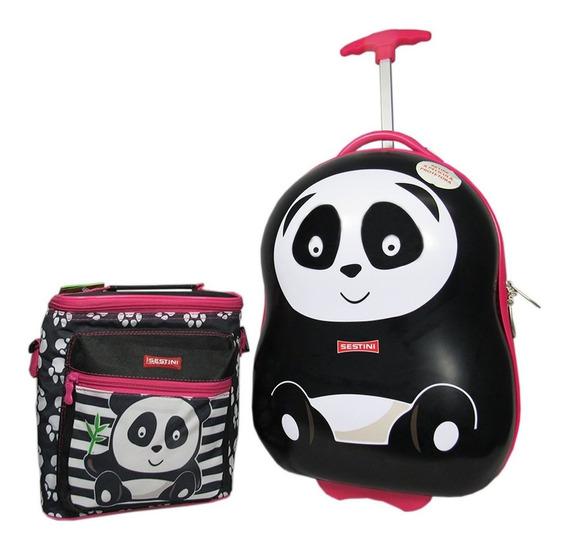 Mala Infantil Panda Kids Escolar Lancheira Especial Sestini