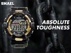 Relógio Smael Camuflado A Prova Dágua + Lata + Frete Gratis