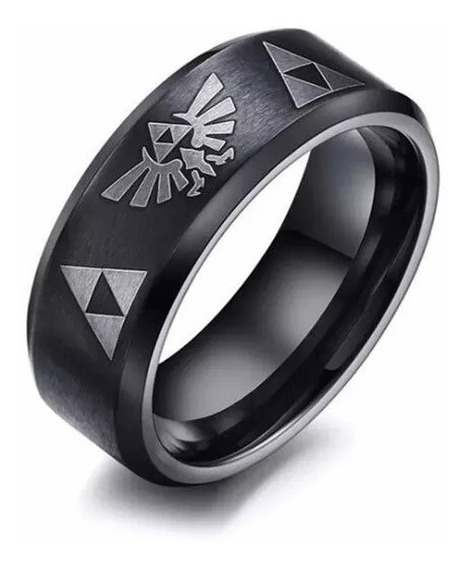 Zelda Anillo Acero The Legend Of Zelda Trifuerza Negro Titan
