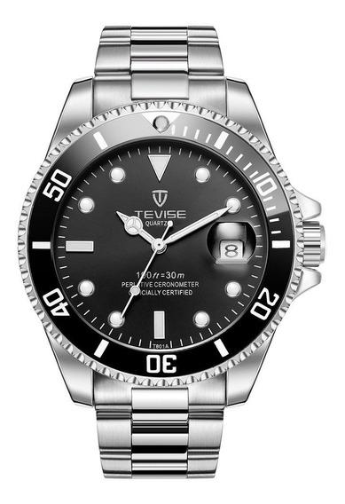 Silver&black Tevise Top Marca Homens Relógio Automático Mecâ