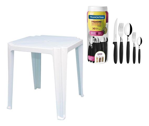 Mesa De Plastico Tambu + Faqueiro Aço Inox 30pçs Tramontina