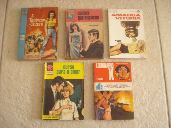 5 Livrinhos De Bolso Diversos De Romance E Ação K196
