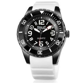 Relógio Everlast Masculino Borracha Branco Analógico - E511