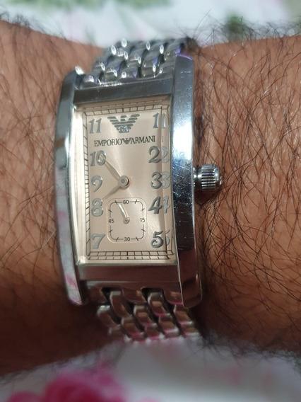 Lindo Relógio Empório Armani Retangular Aço Ótimo Estado.