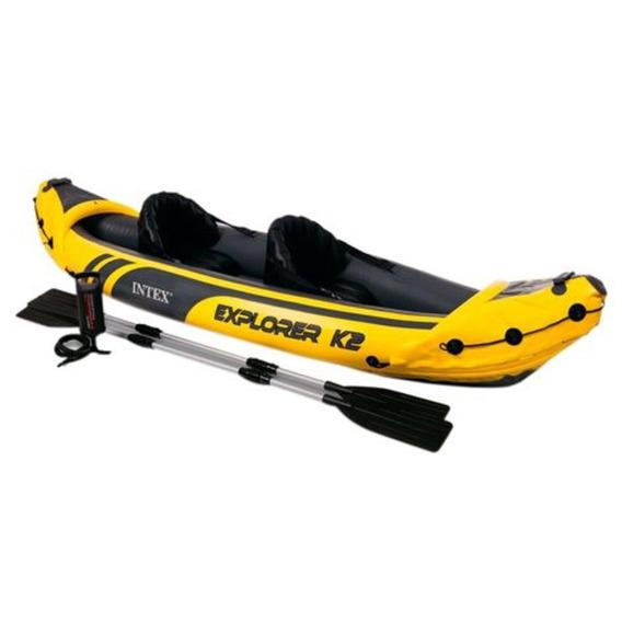 Kayak Inflable Explorer 2 Personas Dos Remos Y Bomba Intex
