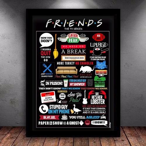 Quadro Poster Ilustração Friends C/ Moldura 45x35cm