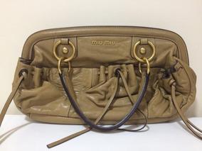 Bolsa De Couro Miu Miu Bege Original