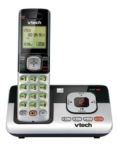 Imagen 1 de 2 de Teléfono inalámbrico VTech CS6829-2 negro y plateado