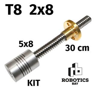 Kit Tornillo Varilla Thsl + Tuerca 2x8 De 300mm + Acople 5x8