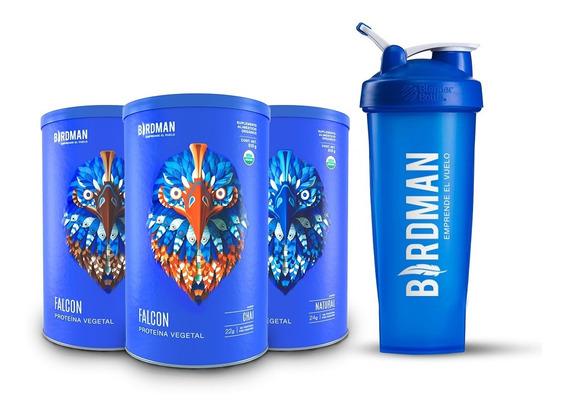 Birdman Pack Falcon Protein 3x(510gr) + Blenderbottle® Cyan