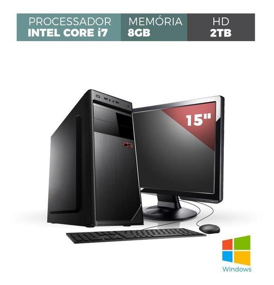 Computador Corporate I7 8gb 2tb Windows Kit Monitor 15