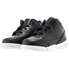 Tenis Air Jordan Retro 3 Negro Niños Basketball Sneaker Piel