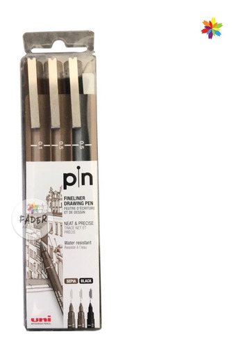 Uni Pin Fineliner Drawing Pen Neat & Precise Black-sepia X 3