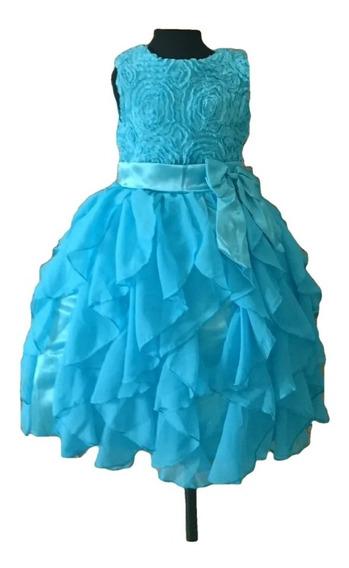 Vestido Infantil Festaprincesa Cinderela Elsa Azul Flores