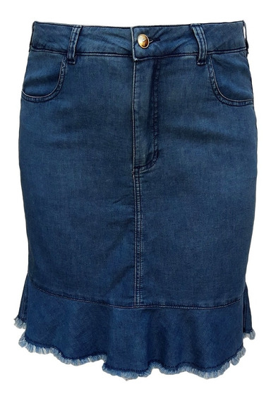 Saia Jeans Malha Denim Evangélica Plus Size Tamanhos 44 A 60