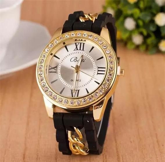 Relógio Feminino Pulso Preto Mulheres Moda Casual Strass