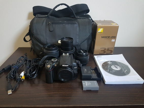 Câmera Nikon D5000 Kit 35mm 18-55mm 55-200mm