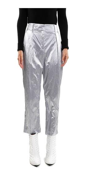 Pantalón Mujer Textura Metálica Y Pliegues Color Plata Lob