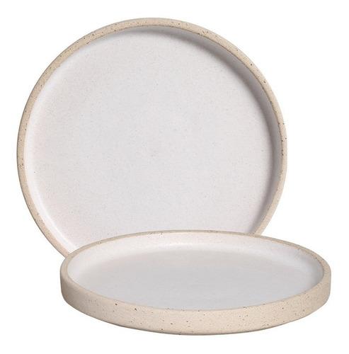Prato Linha Terra Branco De Cerâmica