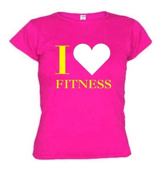 Camiseta I Love Fitness Baby Look Feminina