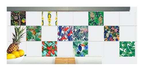 Vinilos Azulejos Tropical Palmeras Selva Aves 20u 15x15cm