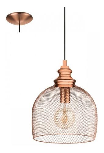 Luminaria Colgante Jaula Grande Cobre Vintage Rejilla