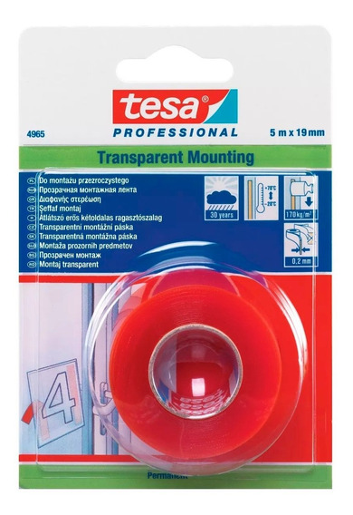Cinta Doble Faz Transparente Multiuso 19mm X 5mtros Tesa