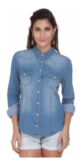 Camisa Blusa Jeans Feminina Manga Longa- Preço Atacado