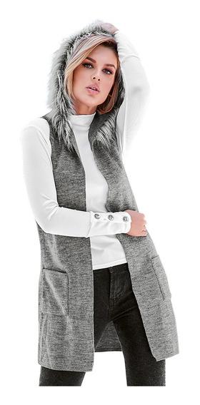 Cklass Chaleco Mujer Largo Textura Pelo