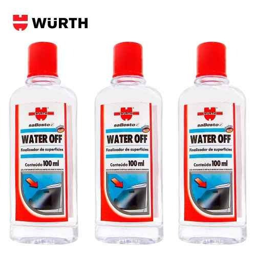 Kit 3 Water Off Wurth Cristalizador Parabrisa Repelente Água