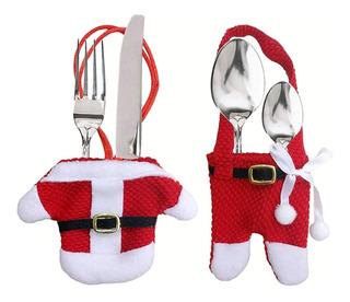 6 Cubre Cubiertos Navidad Santa Claus Papa Noel Porta Mesa