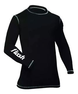Remera Camiseta Térmica Flash Adultos Negra 0835