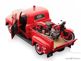 Ford F1 48 Pickup + Harley Davidson El Knucklehead 1:24 Hd
