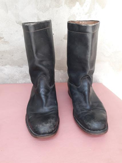 Botas De Cuero Color Negro Nº 45 De Hombre 30 Cm De Plantil