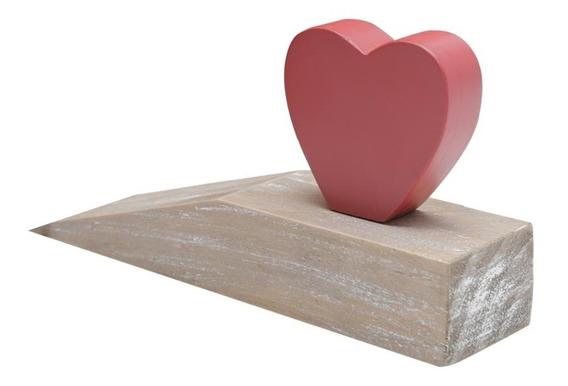 Calço Aparador Porta Madeira Cute Heart 19,4x5x9,7cm