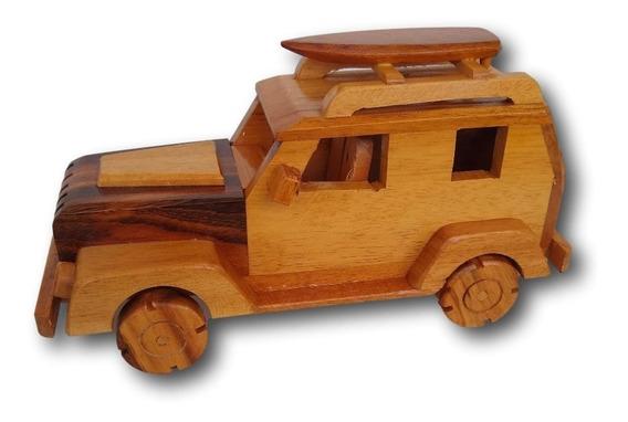 Carrinho Jeep De Madeira Miniatura Decoração Ref. 0687