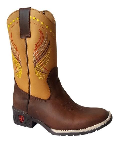 Bota Texana Country Infantil Bico Quadrado Couro Silverado