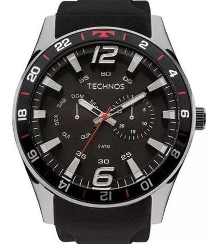 Relógio Mascunilo Technos Racer 6p25bn/8p 46mm Silicone Pret