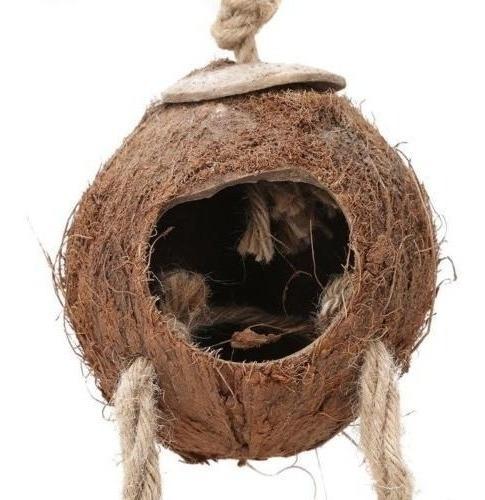 Coco Natural Para Mascotas Shell Aves Nido Choza Jaula Comed