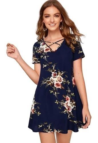 Vestido Casual Bohemio Floral Corto De Playa Azul Marino