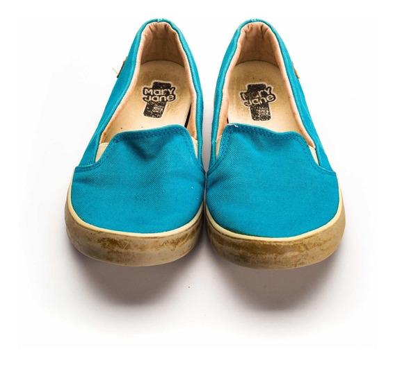 Tênis Mary Jane Azul Lona Usado Tamanho 38 Solado Borracha