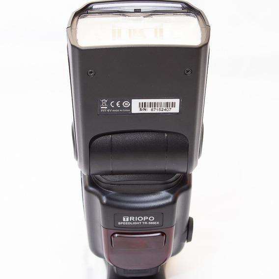 Flash Triopo 586ex + 8 Pilhas E Carregador Sony Ettl Canon