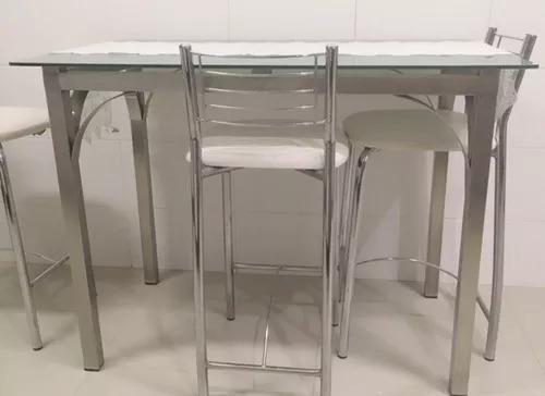 Mesa De Cozinha De Inox ( 4 Lugares ), Com Tão De Vidro. (não Acompanha As Cadeiras)