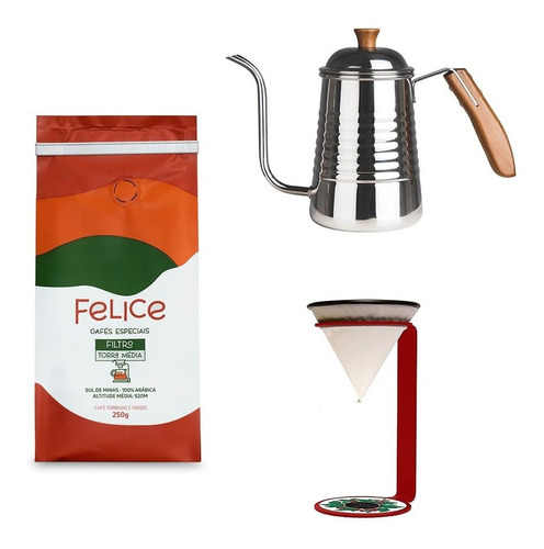 Café Felice Moído 250g + Chaleira + Cone Coffee