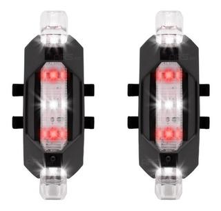 Par Lanterna Bike Sinalizador Bicicleta Luz Led Recarregável