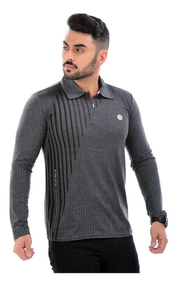 Kit 5 Camiseta Polo Blusa Camisa Manga Longa Masculina