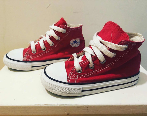 Botitas Zapatillas Converse All Star Hi Top Rojas Talle 25